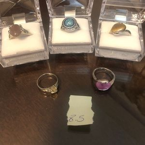 New costume natural stone rings size 8.5 lot